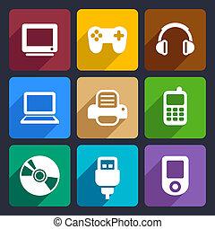 Multimedia flat icons set 7