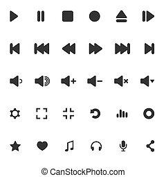 multimedia., icônes, isolated., média, set., illustration, joueur, vecteur