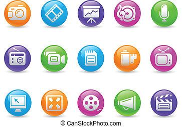 multimedia, iconos, /, arco irirs