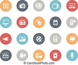 multimedia, iconos, //, clásico, serie