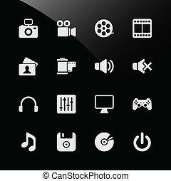 multimedia, iconos de la tela