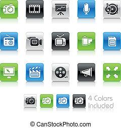 multimedia, iconos, /, limpio