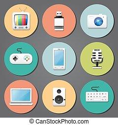 multimedia, iconos, plano, diseño