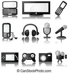 Multimedia icons - Set of glossy multimedia icons with...
