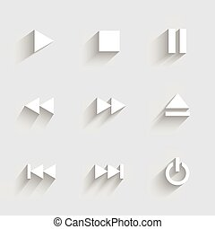 Multimedia icons. Flat design