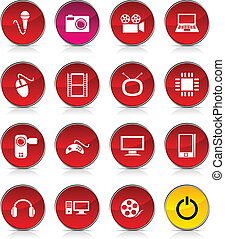 Multimedia icons. - Multimedia glossy icons. Vector buttons.