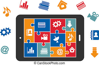 Multimedia icons on tablet screen - Multimedia icons in...