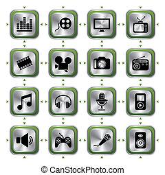 Multimedia icons set HL - Illustration vector