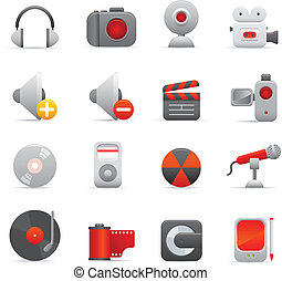 Multimedia Icons Set | Red Series 0