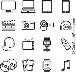 multimedia, ikona, zestawy