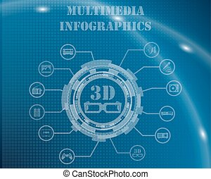Multimedia Infographic Template From Technological Gear Sign...