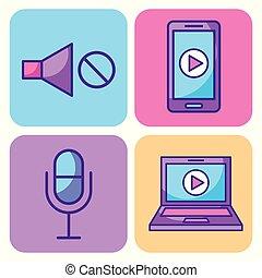 multimedia, jogo, ícones, tecnologia, rede, e, comunicação