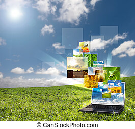 multimedia, laptop