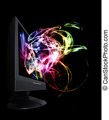 Monitor full of colorful and magical waves.