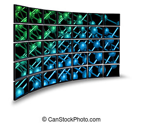 Multimedia wide screen monitor wall with nanoparticle image