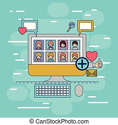 multimedia photo application in device tech desktop computer with icons on colorful decorative background