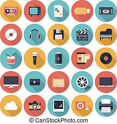 multimedia, plano, iconos, conjunto