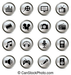 multimedia, plata, iconos, conjunto