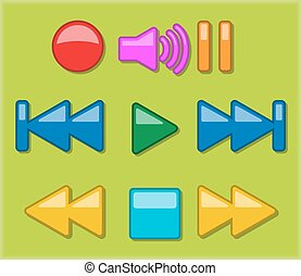 Multimedia player buttons icon set