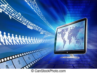 Concept of internet as a multimedia sharing portal for message, friend, video and song.