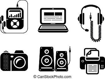 multimedia, pretas, dispositivos, ícones escritório