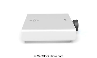 Multimedia projector rotates on white background