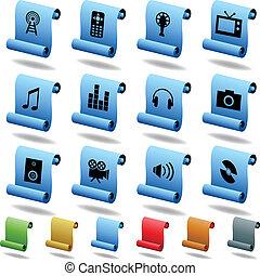 multimedia, rúbrica, iconos