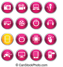 Multimedia round icons.