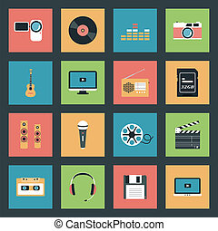 multimedia, sæt, iconerne
