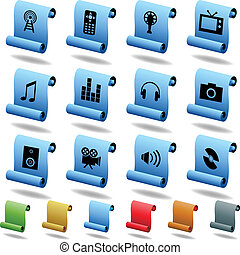 Multimedia Scroll Icons isolated on a white background.