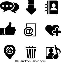multimedia, set, icone
