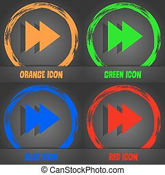 multimedia sign icon. Player navigation symbol. Fashionable modern style. In the orange, green, blue, red design. Vector