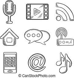 multimedia, sketched, telecomunicazione, icone