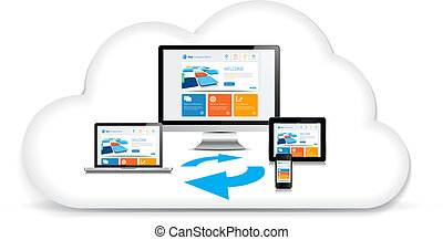 multimedia, syncing, dados, nuvem
