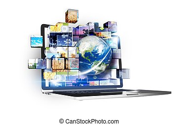Multimedia Technology Abstract Illustration with Modern Laptop Computer and Multimedia Files as Cubes. Internet, Cloud Technologies, Photo and Videos Concept.
