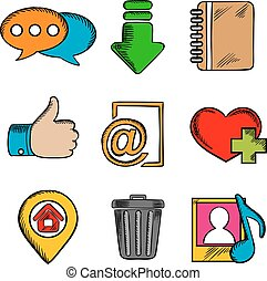 Multimedia web icons and symbols