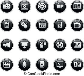 Multimedia Web Icons  - Vector buttons.