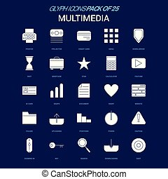 Multimedia White icon over Blue background. 25 Icon Pack