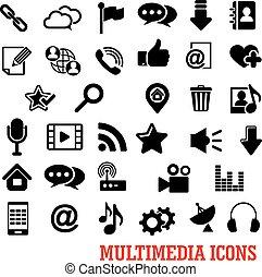 multimedia, y, tela, social, medios, iconos