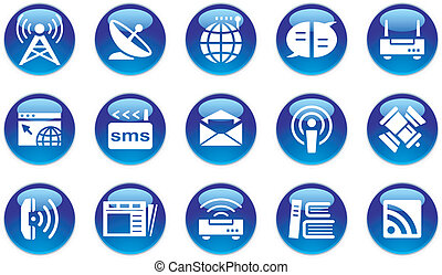 Multimedia/Communication Icon Set on white background.
