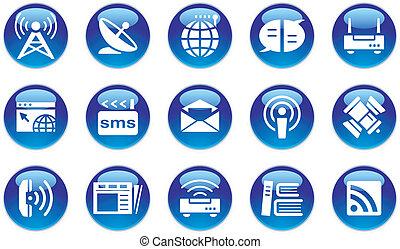 multimedia/communication, sätta, ikon