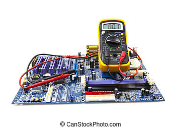 Multimeter and computer circuit board on white background