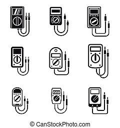 Multimeter digital icons set. Simple set of multimeter digital vector icons for web design on white background
