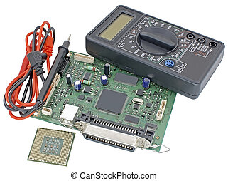 multimeter, modern CPU and circuit board on a white