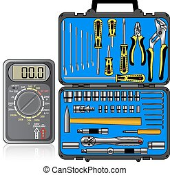 Multimeter of black color and set of different tools  in a box v