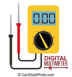 Multimeter Vector. Digital Gadget. Electrical Multitester Icon. Current Voltmeter Voltage Meter. Electronic Equipment. Illustration