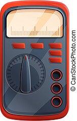multimeter, voltmeter, stijl, spotprent, pictogram