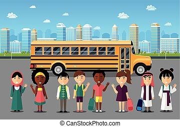 multinacional, escola, ir, crianças