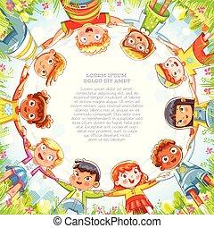 multinacional, grupo, niños que tienen manos