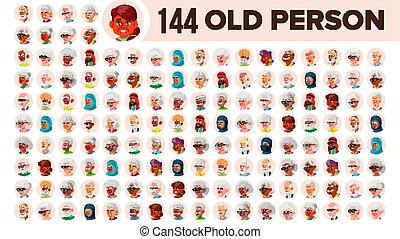 multinacional, jogo, pessoas velhas, macho idoso, female., asiático, ethnic., vector., europeu, apartamento, ilustração, portrait., usuário, arab., multi, rosto, pessoa, africano, avatar, icon., racial., emotions.